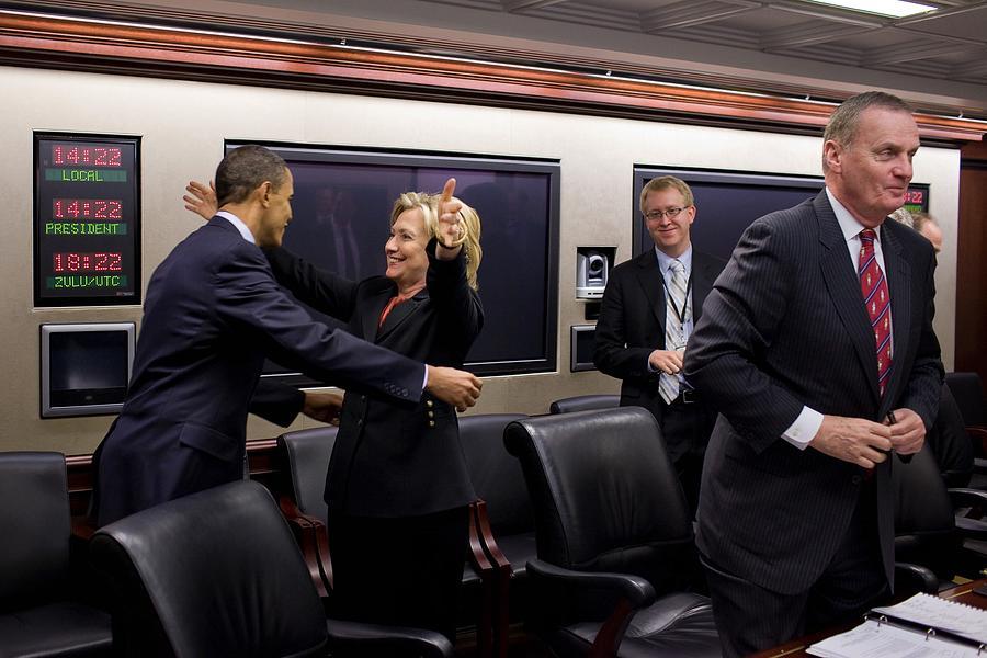 History Photograph - Hillary Clinton Joyfully Congratulates by Everett