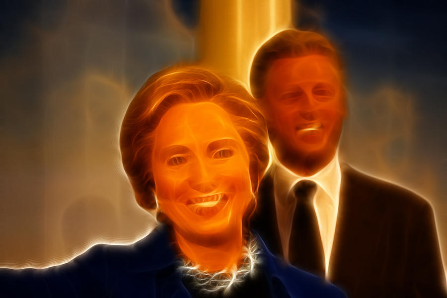 2008 Photograph - Hillary Rodham Clinton - United States Secretary Of State - Bill Clinton by Lee Dos Santos