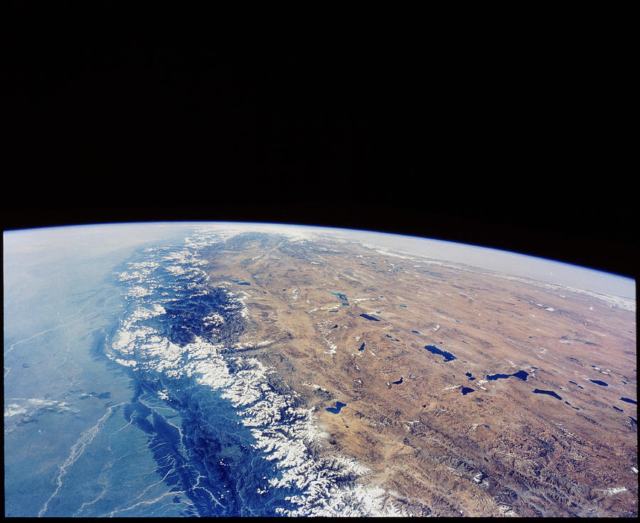 Himalayas Nepal And Tibet From Space Photograph By Nasa