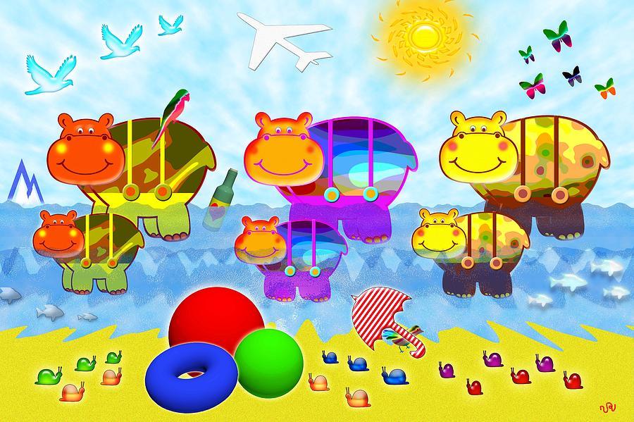 Summer Digital Art - Hippopotam by Victoria Regueira