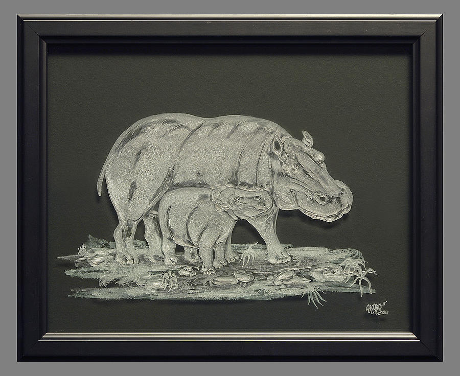 Fineartamerica Painting - Hippos Mother And Baby by Akoko Okeyo
