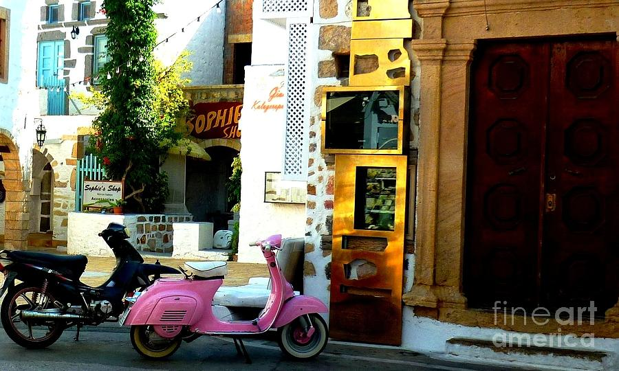 Vespas Photograph - His And Hers Vespas At The Gallery by Therese Alcorn