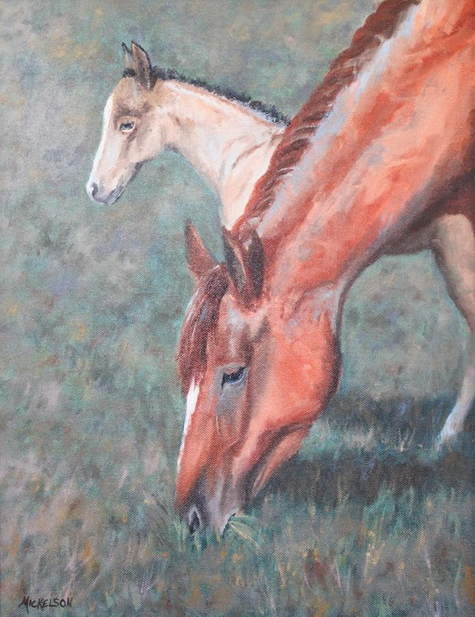 Horse Painting - His First Day by Debra Mickelson