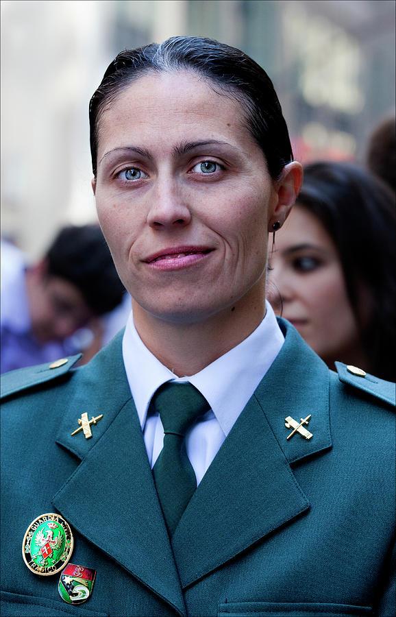Police Officer Photograph - Hispanic Columbus Day Parade Nyc 11 9 11 Female Spanish Police O by Robert Ullmann