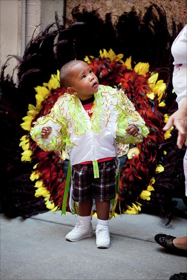 Ethnic Pride Photograph - Hispanic Columbus Day Parade Nyc 11 9 11 Young Boy Preparing by Robert Ullmann