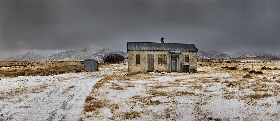 00463031 Photograph - Historic Farm After Snowfall Otago New by Colin Monteath