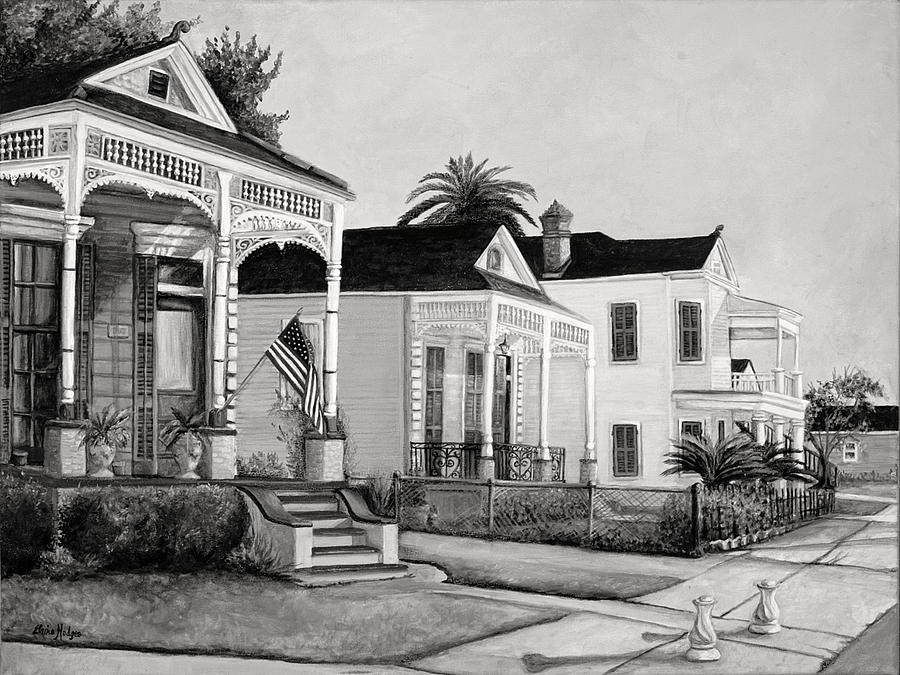 Historic louisiana homes in black and white painting by Black and white homes