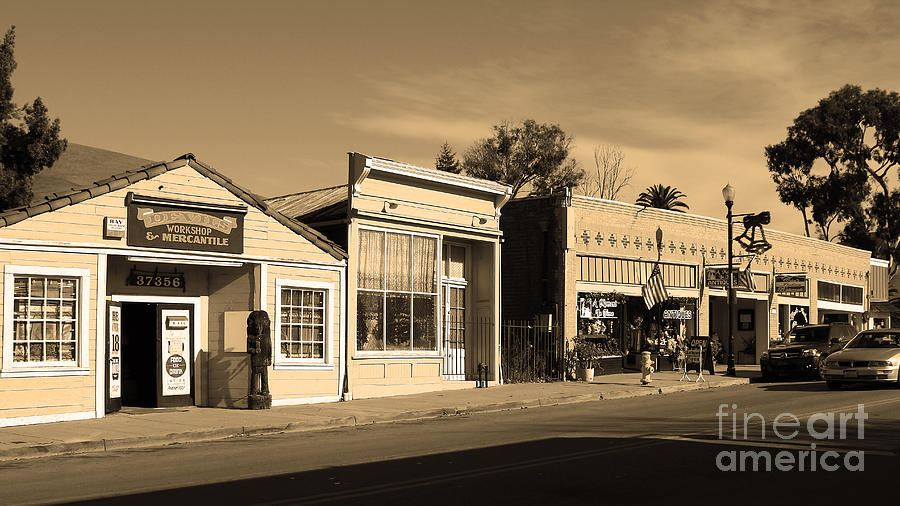 Black And White Photograph - Historic Niles District In California Near Fremont . Main Street . Niles Boulevard . 7d10676 . Sepia by Wingsdomain Art and Photography