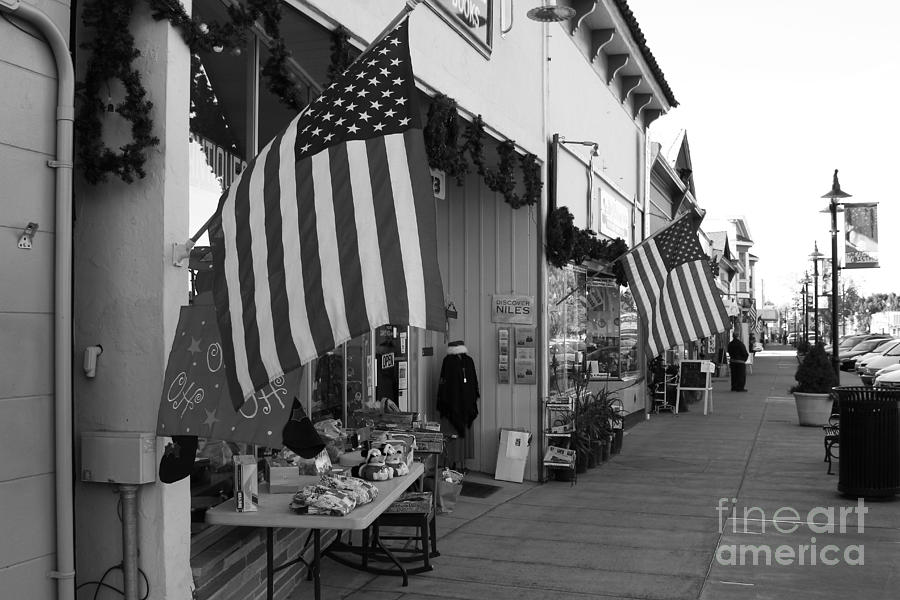 Americana Photograph - Historic Niles District In California Near Fremont . Main Street . Niles Boulevard . 7d10692 . Bw by Wingsdomain Art and Photography