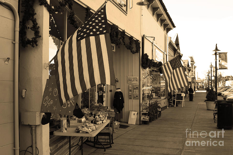 Americana Photograph - Historic Niles District In California Near Fremont . Main Street . Niles Boulevard . 7d10692 . Sepia by Wingsdomain Art and Photography