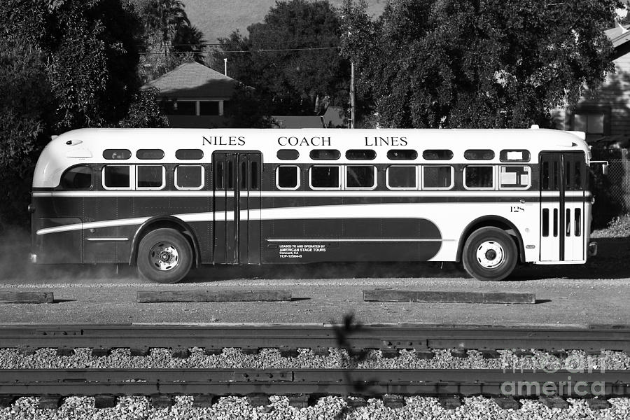 Black And White Photograph - Historic Niles District In California Near Fremont . Niles Coach Line Bus . 7d10803 . Bw by Wingsdomain Art and Photography