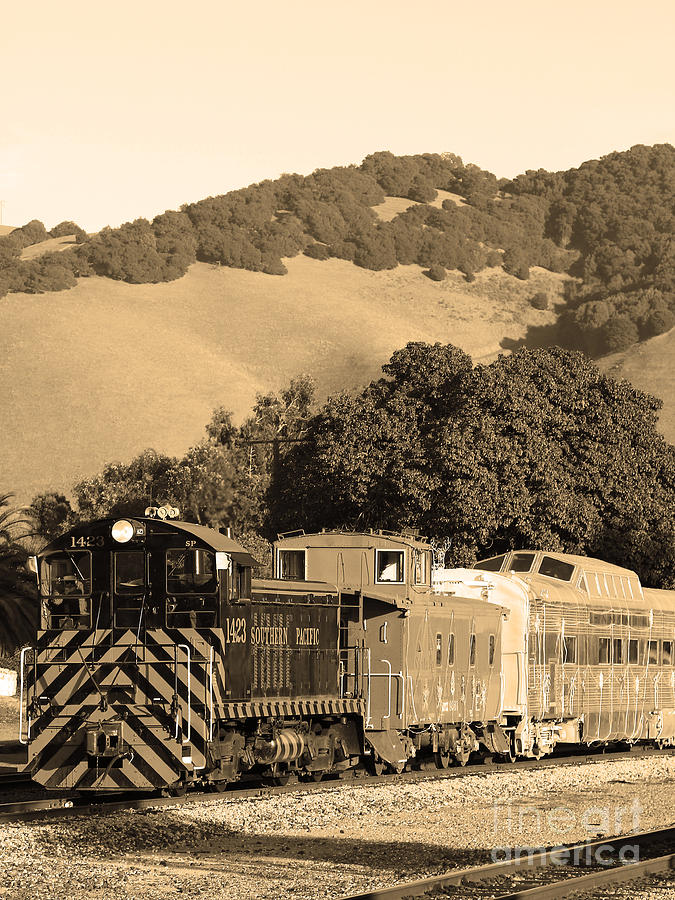 Black And White Photograph - Historic Niles Trains In California.southern Pacific Locomotive And Sante Fe Caboose.7d10819.sepia by Wingsdomain Art and Photography