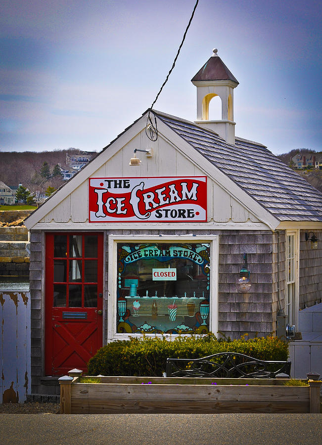 Ice Cream Photograph - Historic Rockport Center by Erica McLellan