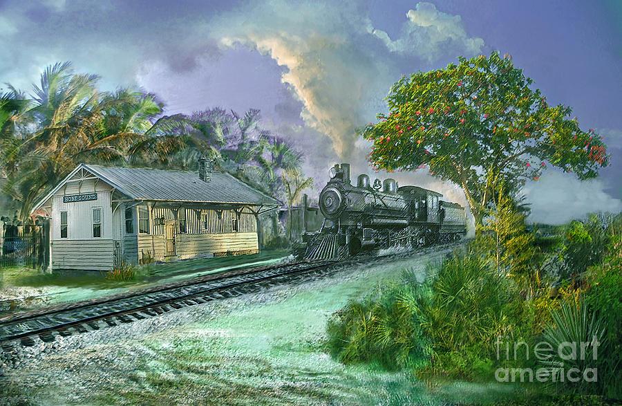 Train Digital Art - Hobe Sound Railroad Station by Richard Nickson