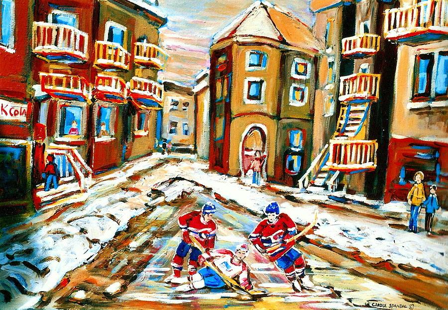 Hockey Painting - Hockey Art Hockey Game Plateau Montreal Street Scene by Carole Spandau