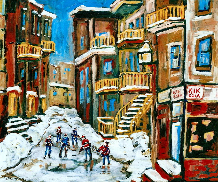 Hockey Painting - Hockey Art In Montreal by Carole Spandau