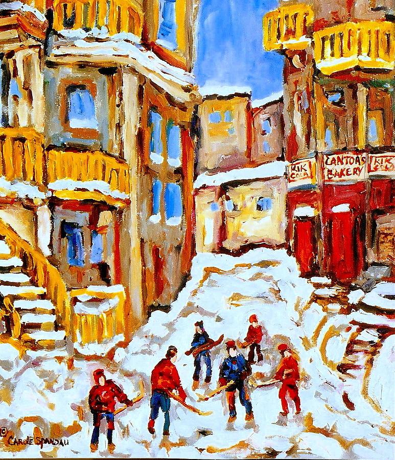 Hockey Painting - Hockey Art Montreal City Streets Boys Playing Hockey by Carole Spandau