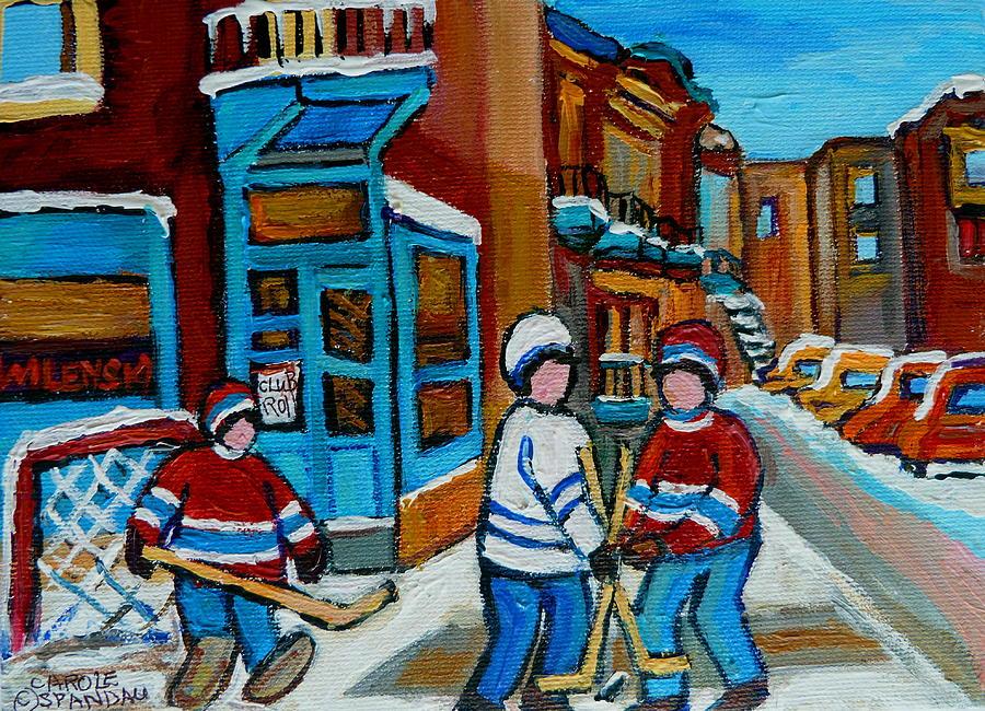 Montreal Painting - Hockey Game Corner Clark And Fairmount Wilenskys Paintings by Carole Spandau