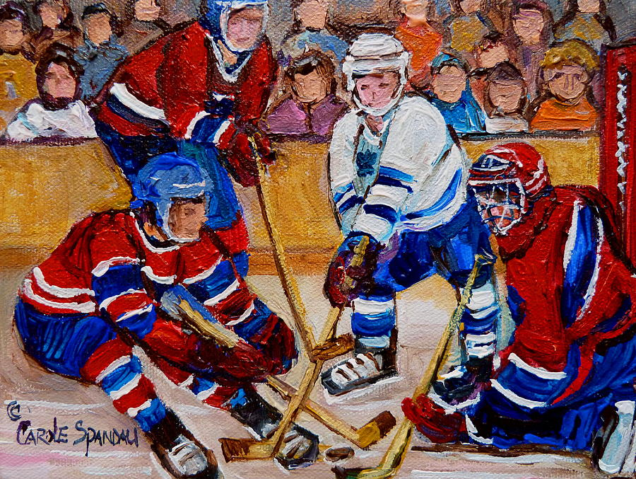 Hockey Painting - Hockey Game Scoring The Goal by Carole Spandau