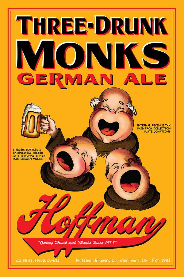 Monks Drawing - Hoffman Three Drunk Monks by John OBrien