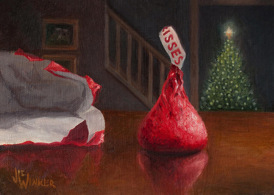 Holiday Painting - Holiday Kiss by Joe Winkler
