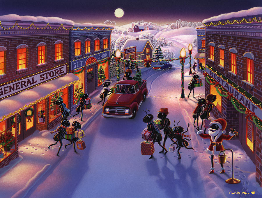Ants Painting - Holiday Shopper Ants by Robin Moline