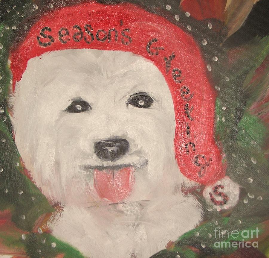 Holiday Westie Painting by Rachel Carmichael