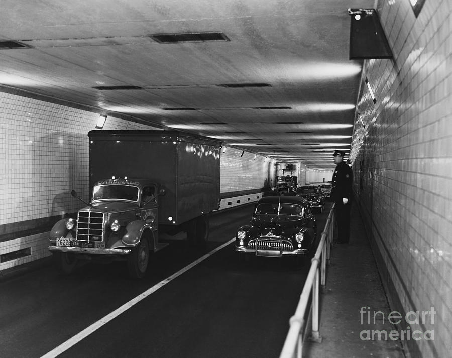 Historic Photograph - Holland Tunnel, Nyc by Photo Researchers