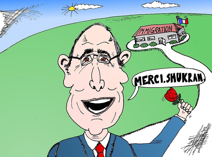 Hollande Thanks Immigration Cartoon Drawing By Yasha Harari