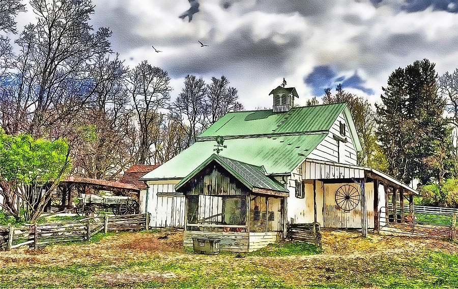 Old Barns Painting - Holmes County Farm by Tom Schmidt