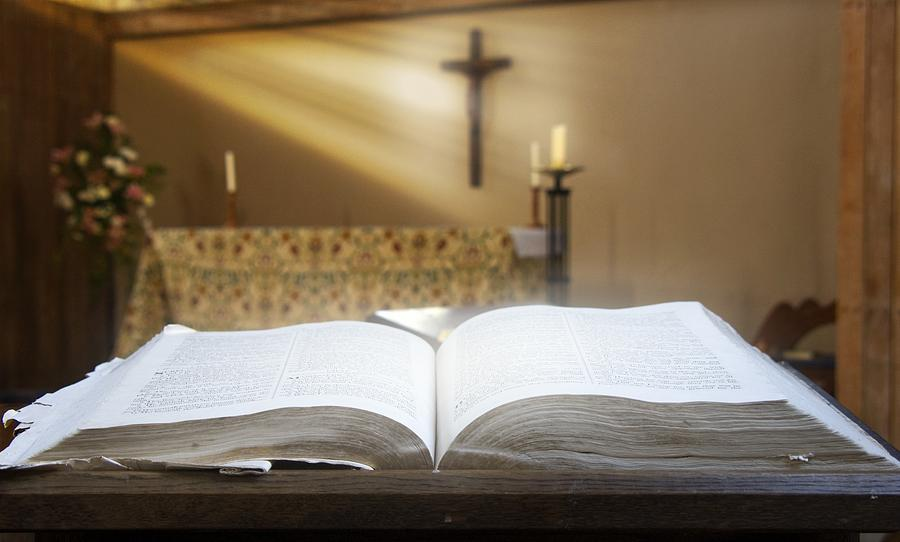 Altar Photograph - Holy Bible In A Church by John Short