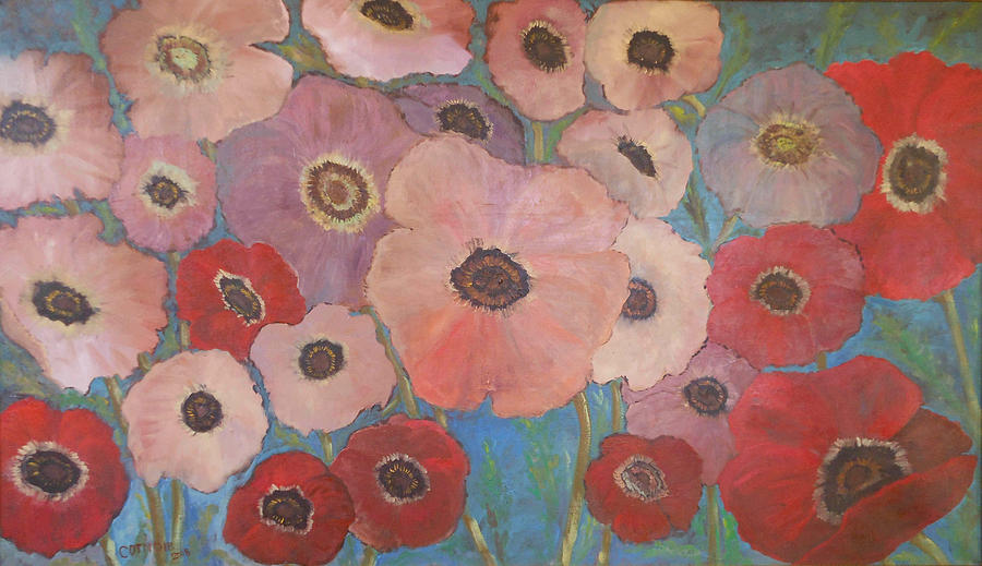 Poppies Painting - Homage To Georgia by Rosemary Cotnoir