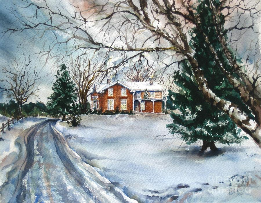 christmas painting home for christmas by patty kingsley - Home For Christmas