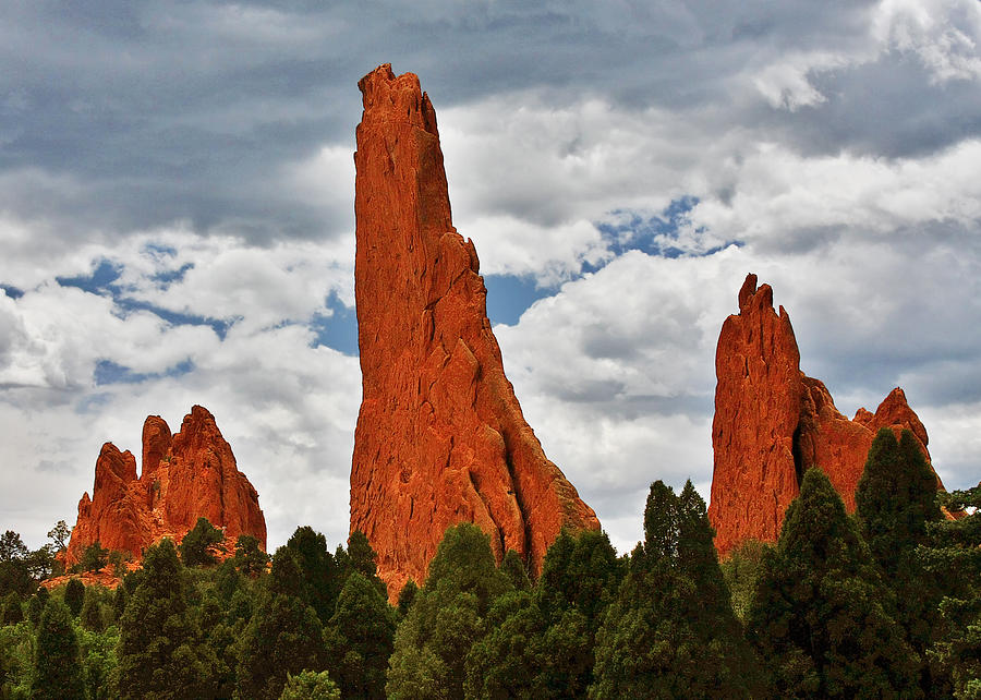 Natural Photograph - Home Of The Weather God - Garden Of The Gods - Colorado City by Christine Till