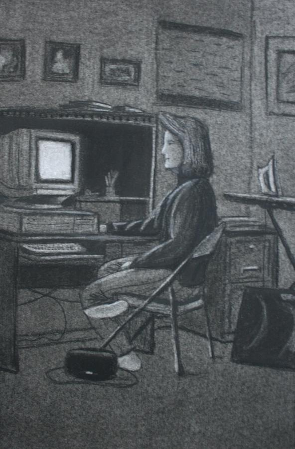 Charcoal Drawing - Home Office by Stacy C Bottoms