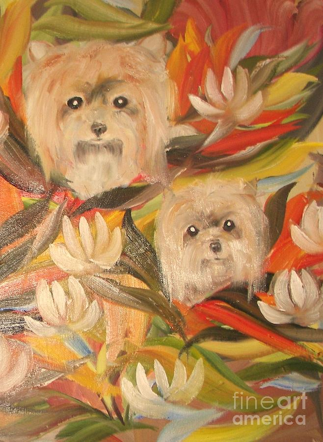 Pets Painting - Homegrown Yorkies by Rachel Carmichael