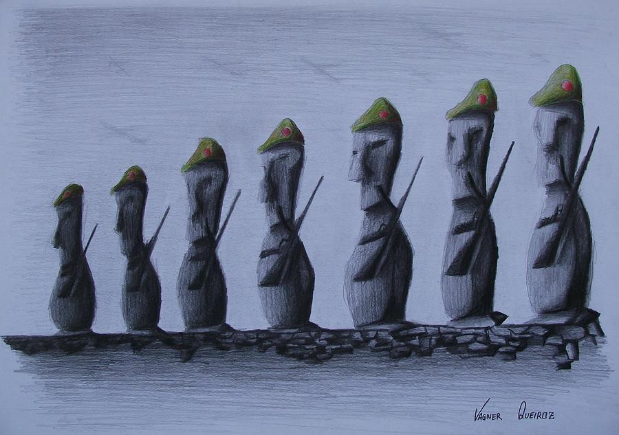 Armas Drawing - Homens De Pedra by Vagner Queiroz