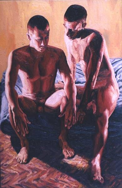 Bing bare naked couple art panting idea think