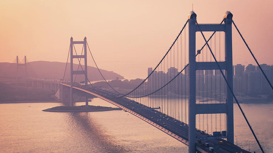 Horizontal Photograph - Hong Kong Tsing Ma Bridge At Sunset by Yiu Yu Hoi