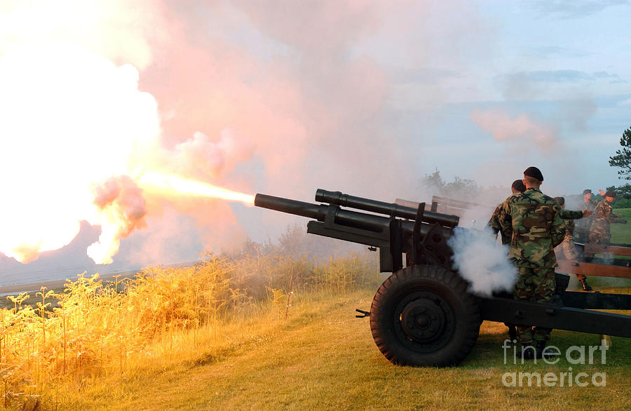105mm Photograph - Honor Guard Members Fire A 105 Mm by Stocktrek Images