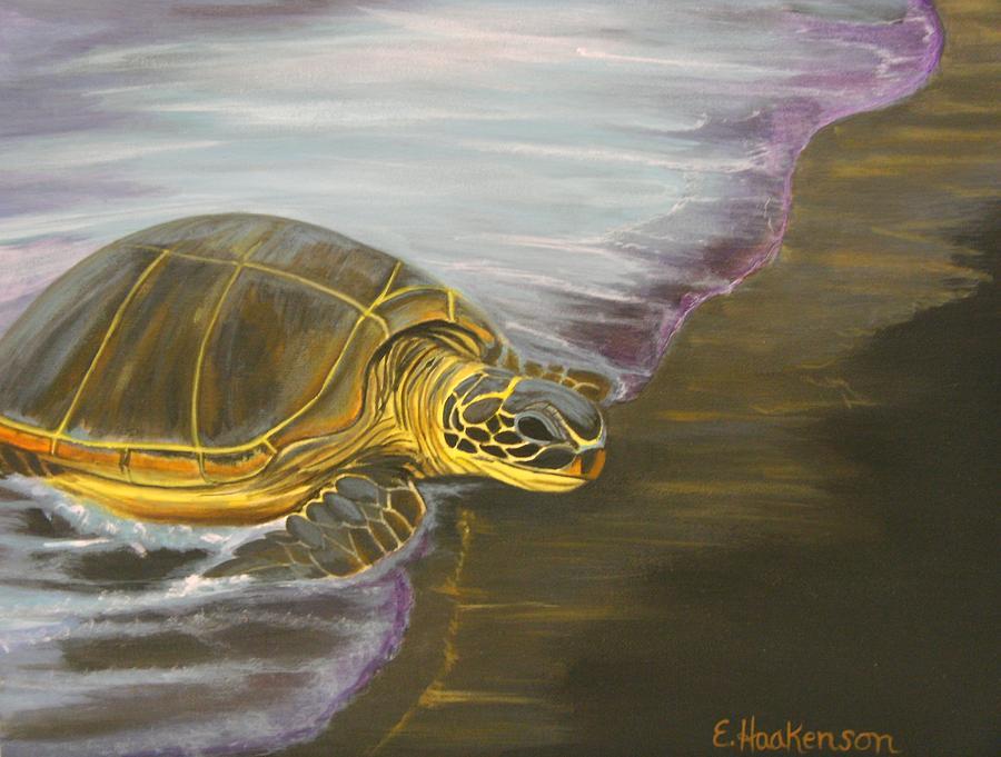 Elaine Haakenson Painting - Honu On Black Sand Beach by Elaine Haakenson