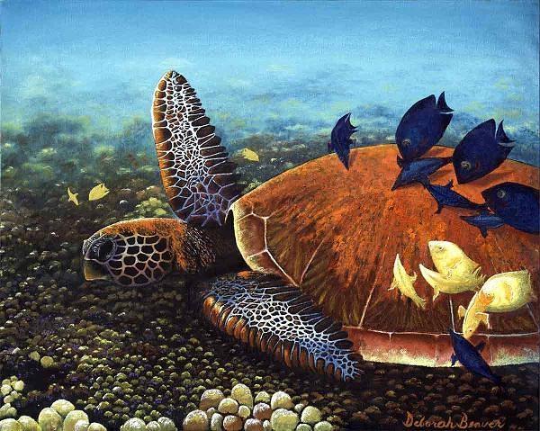 Honu With Cleaner Fish Painting by Deborah Beaver
