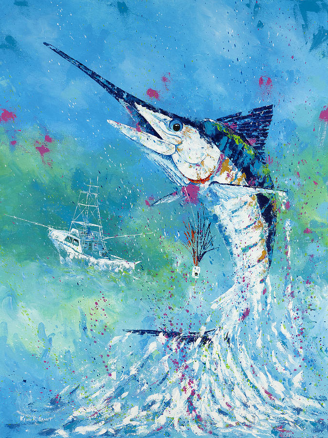 Blue Marlin Painting - Hook Up by Kevin Brant