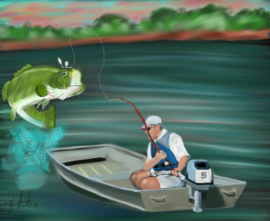 Fish Digital Art - Hooked A Keeper by Tyler Martin