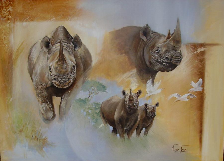 Wild Life Painting - Hope Black Rhino by Vanessa Lomas