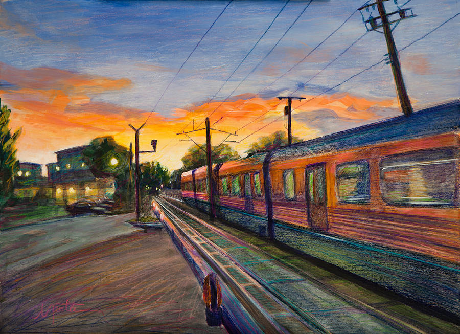 Train Painting - Hope Crossing by Athena  Mantle