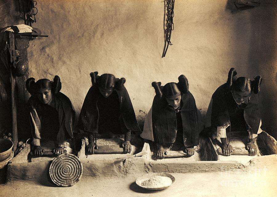 Pd Photograph - Hopi Girls Grinding Corn by Pg Reproductions
