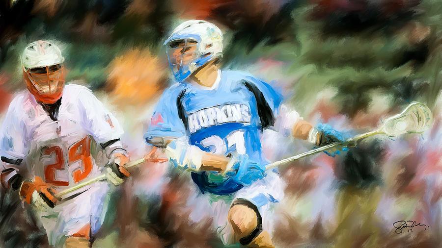 Lacrosse Painting - College Lacrosse Midfielder by Scott Melby