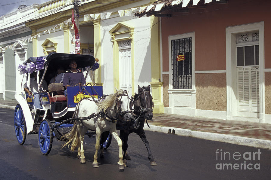 Nicaragua Photograph - Horse And Carriage Granada Nicaragua by John  Mitchell