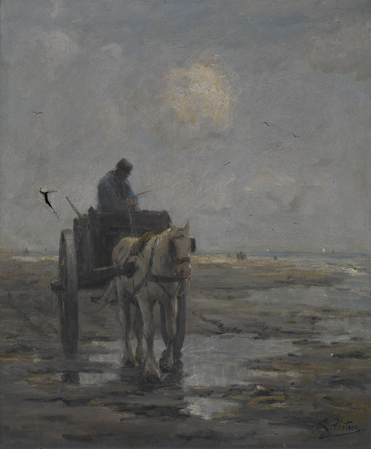 Beach Painting - Horse And Cart by Evert Pieters